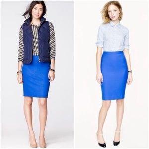 J.Crew Bright Blue Wool Pencil Skirt